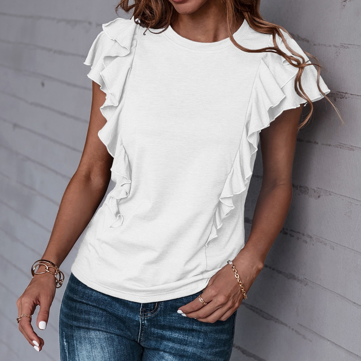 Однотонная футболка SheIn swtee23210609631