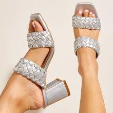 Metallic Braided Design Chunky Sandal Mules