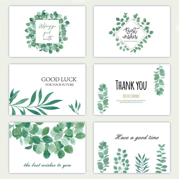 6pcs Plants Print Greeting Card With Envelope, Green