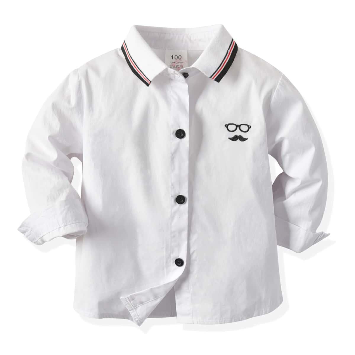Рубашка с вышивкой на пуговицах для мальчиков