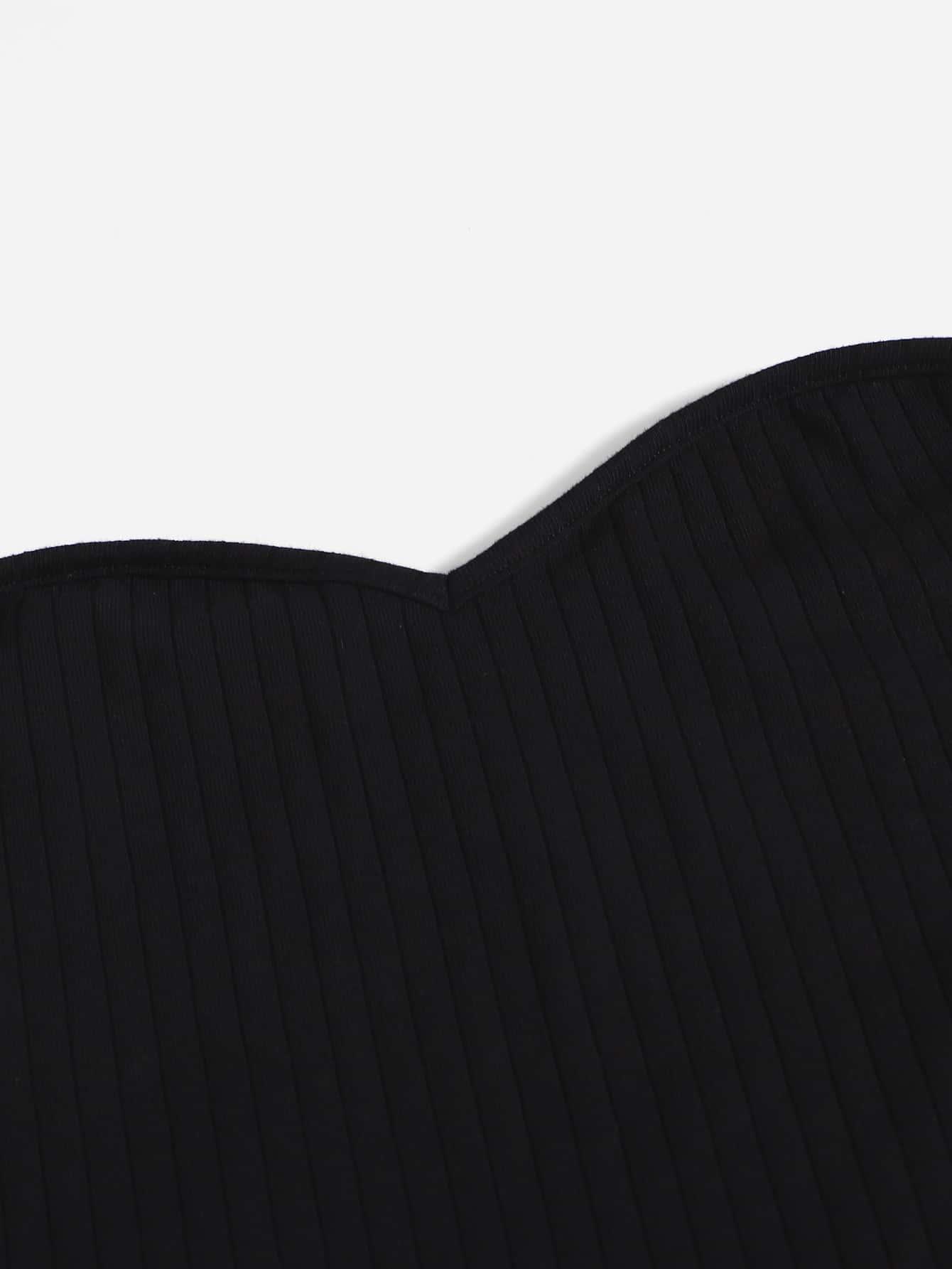 Solid Rib Knit Tube Top