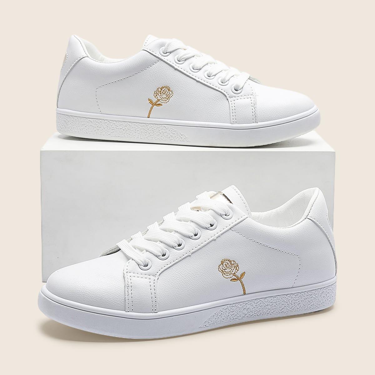 Обувь для скейтбординга с цветочной вышивкой на шнурках