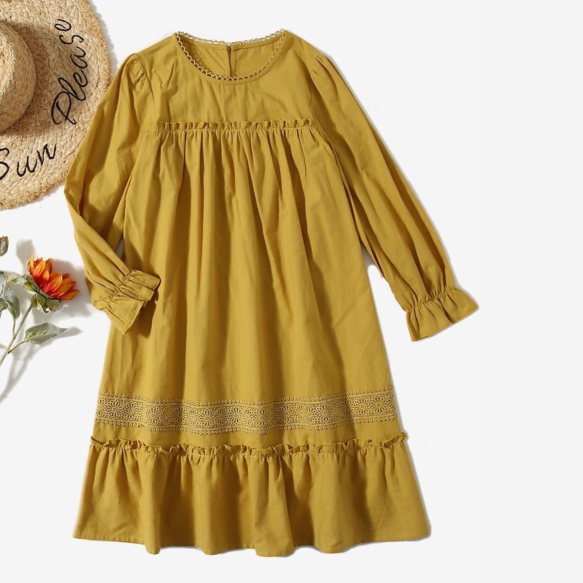 Girls Guipure Lace Applique Flounce Sleeve Smock Dress, SHEIN  - buy with discount