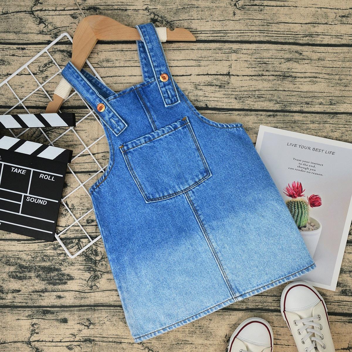 для девочек Платье-сарафан с карманом омбре джинсовый SheIn skdress25210520598
