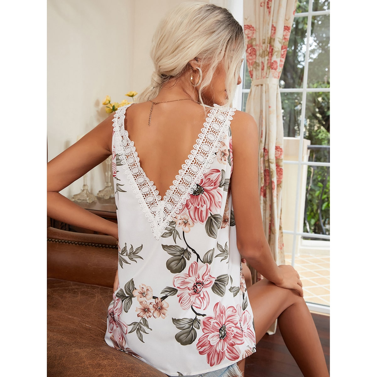 Floral Print Lace Panel Tank Top, SHEIN  - buy with discount
