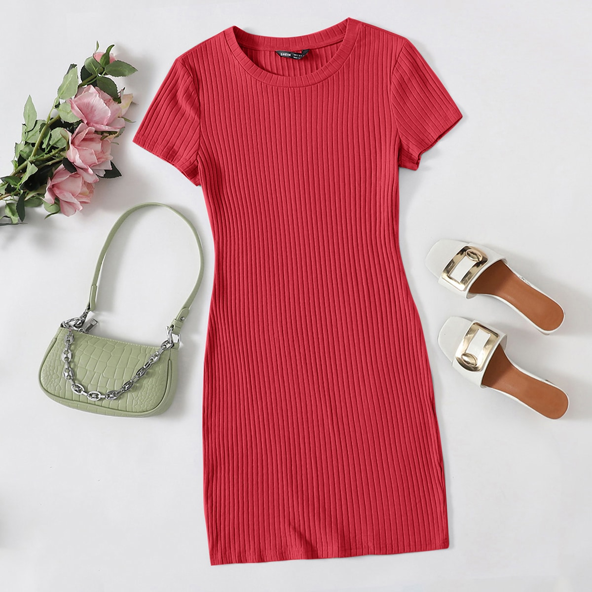 Вязаное облегающее платье SheIn sWR200722000666108