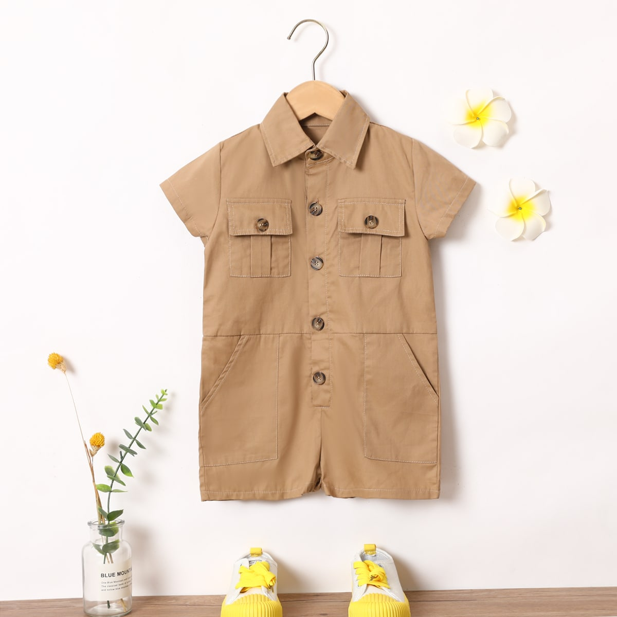 Toddler Boys Flap Pockets Utility Romper, SHEIN  - buy with discount