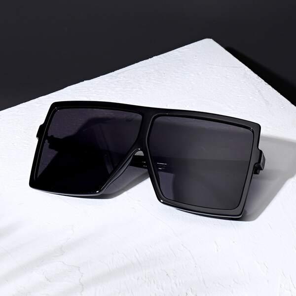 Men Flat Top Tinted Lens Sunglasses, Black
