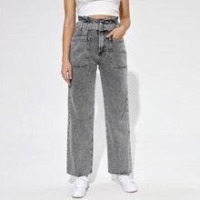 Pocket Patched Paperbag Waist Belted Jeans
