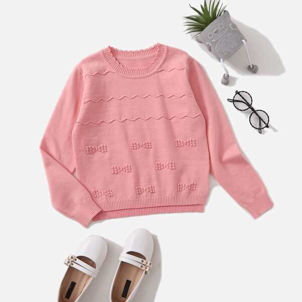 Girls Solid Scallop Trim Sweater, Dusty pink