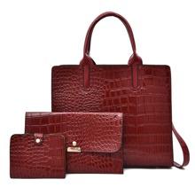 3pcs Croc Embossed Bag Set