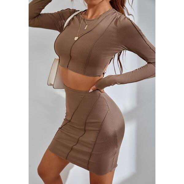 Lace Up Back Topstitching Crop Tee & Bodycon Skirt, Mocha brown