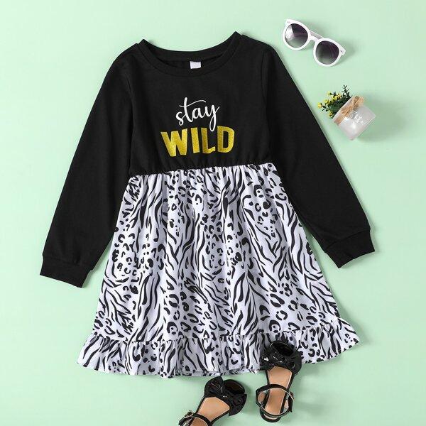 Girls Slogan & Graphic Print Ruffle Hem 2 In 1 Dress, Black and white