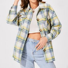 Single Breasted Flap Pocket Tartan Coat