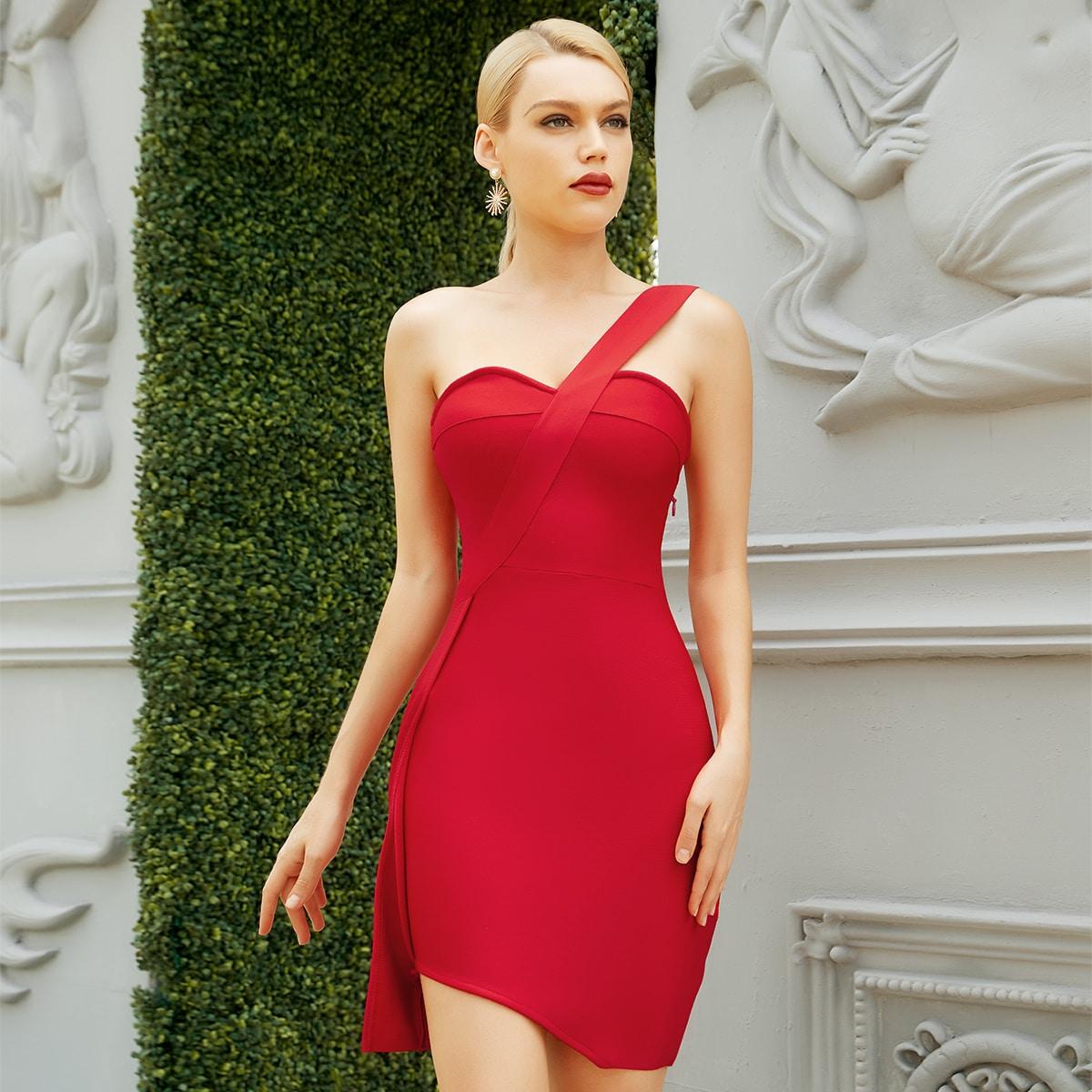 Платье на одно плечо SheIn sw2106236003515537