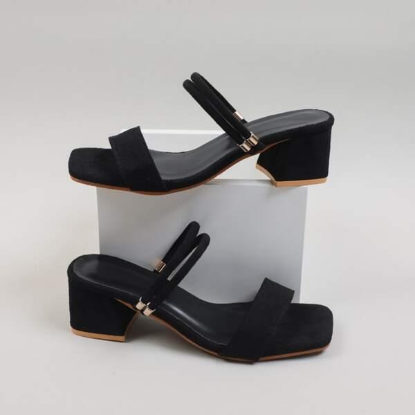 Minimalist Chunky Heeled Mules, Black