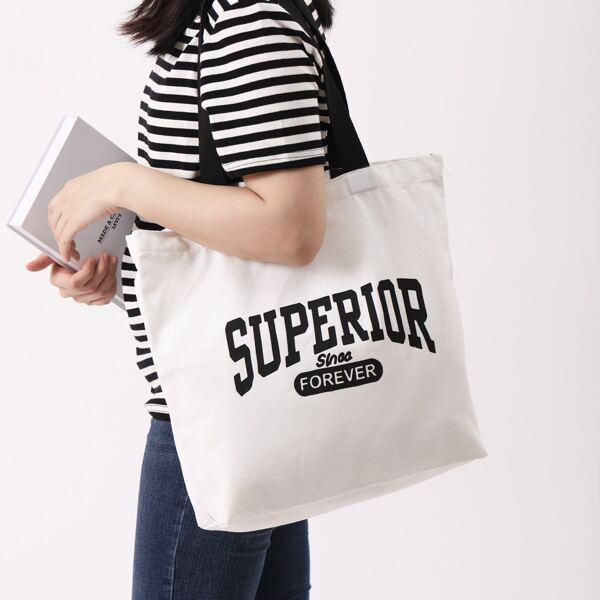 Letter Graphic Shopper Bag, White