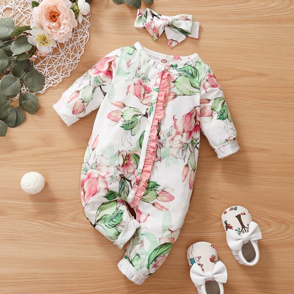 Baby Girl Floral Ruffle Trim Jumpsuit With Headband, Multicolor