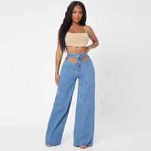 Cutout Waist Wide Leg Jeans