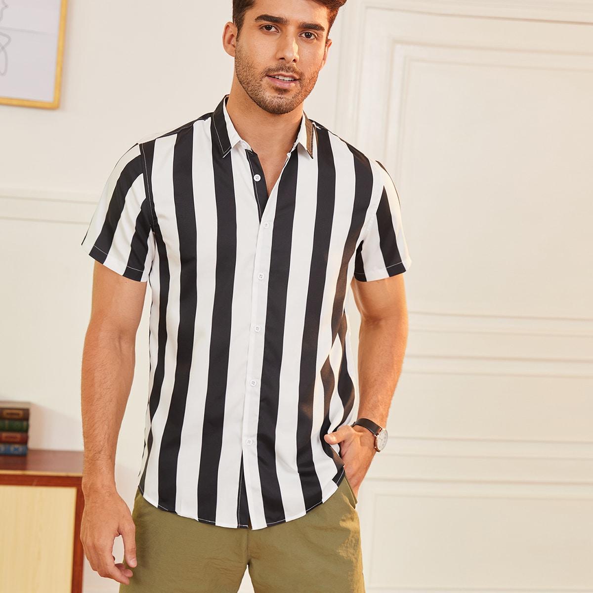 Мужской Рубашка на пуговицах в полоску SheIn smshirt25210414947