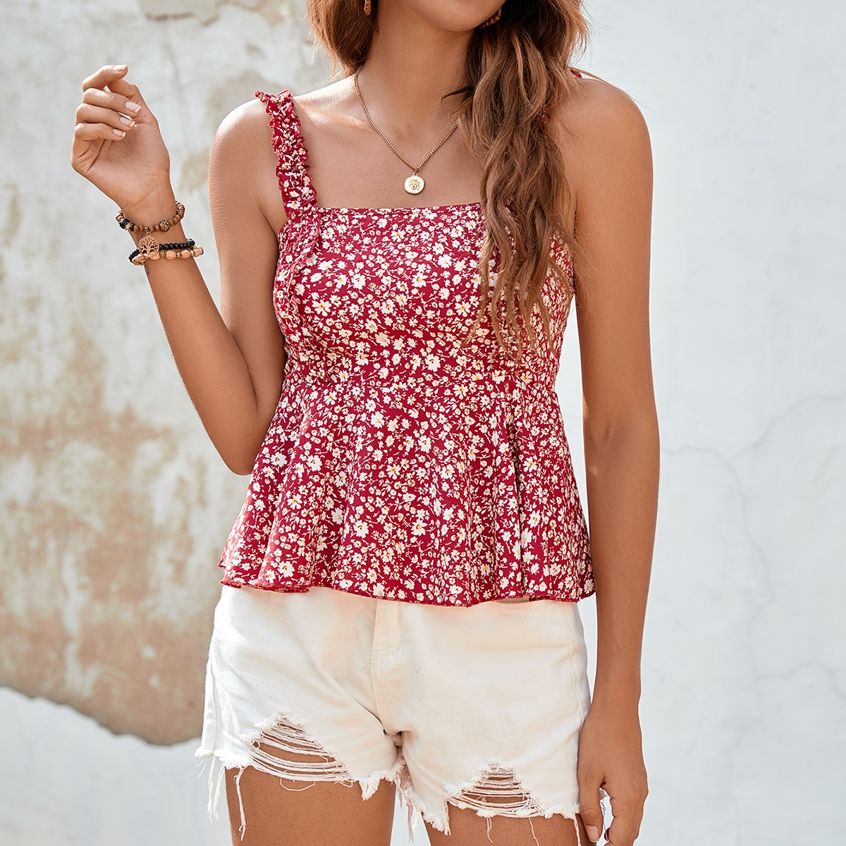 Frilled Strap Ditsy Floral Cami Top, SHEIN  - buy with discount