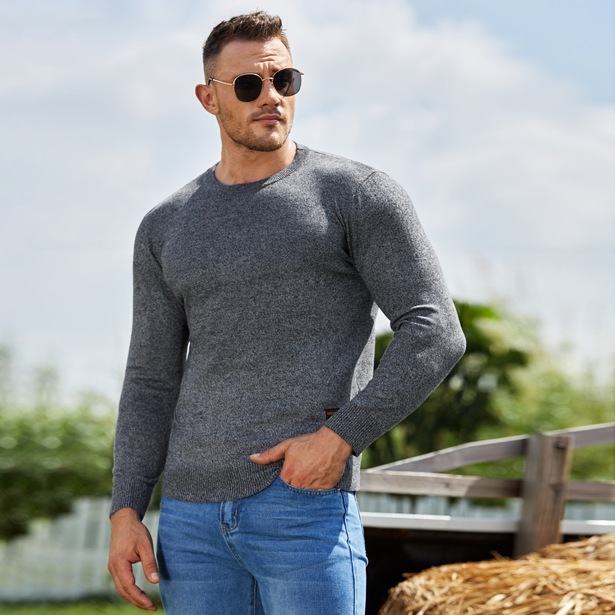 Homme Pull chiné