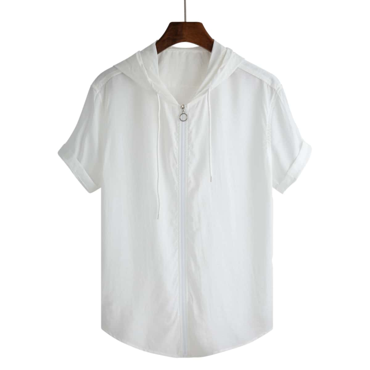 Мужская рубашка на молнии с капюшоном