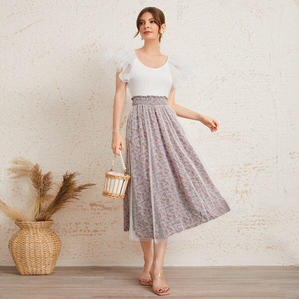 Layered Sleeve Tee & Floral Mesh Overlay Skirt Set, Multicolor