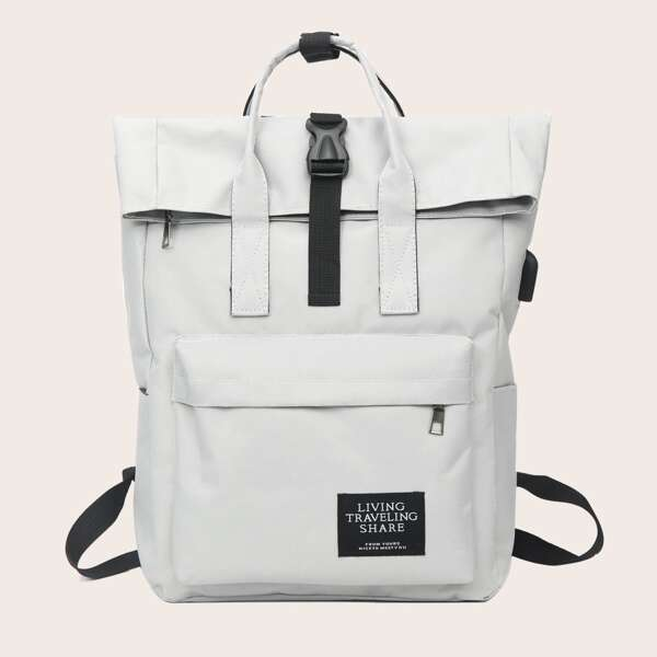Letter Patch Flap Backpack, Grey
