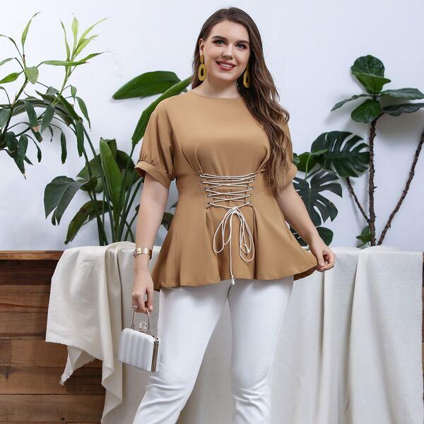 Блуза на шнурке размера плюс, Хаки