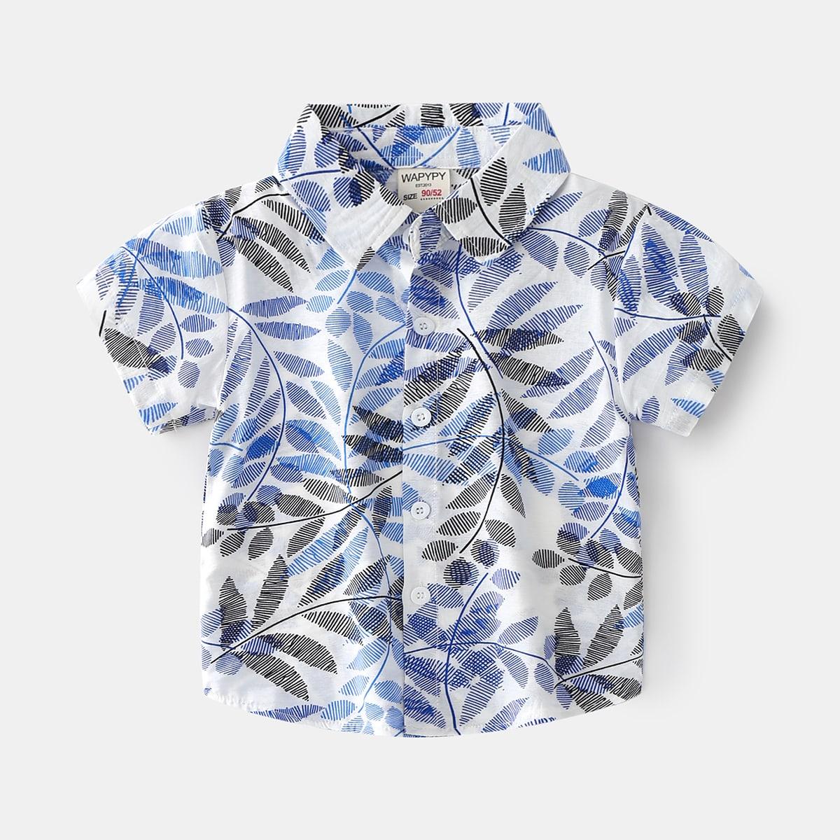 для мальчиков Рубашка с принтом листьев