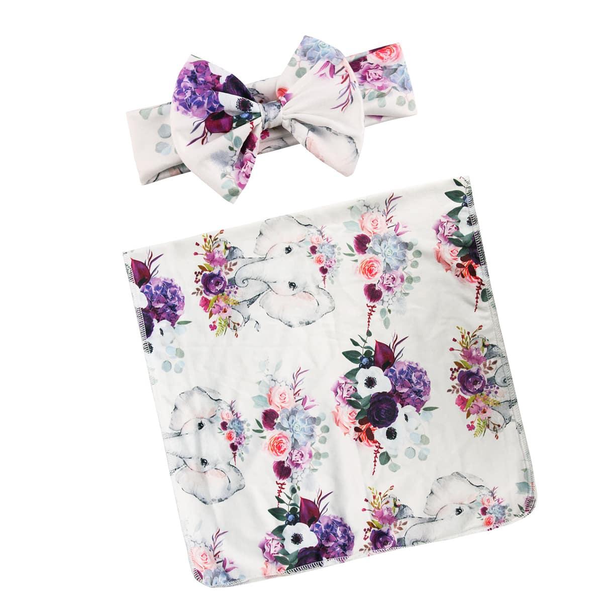 Одеяло и повязка на голову с цветочным принтом для фотографии новорожденных девочек