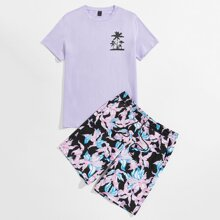 Guys Tropical Print Top & Shorts Set