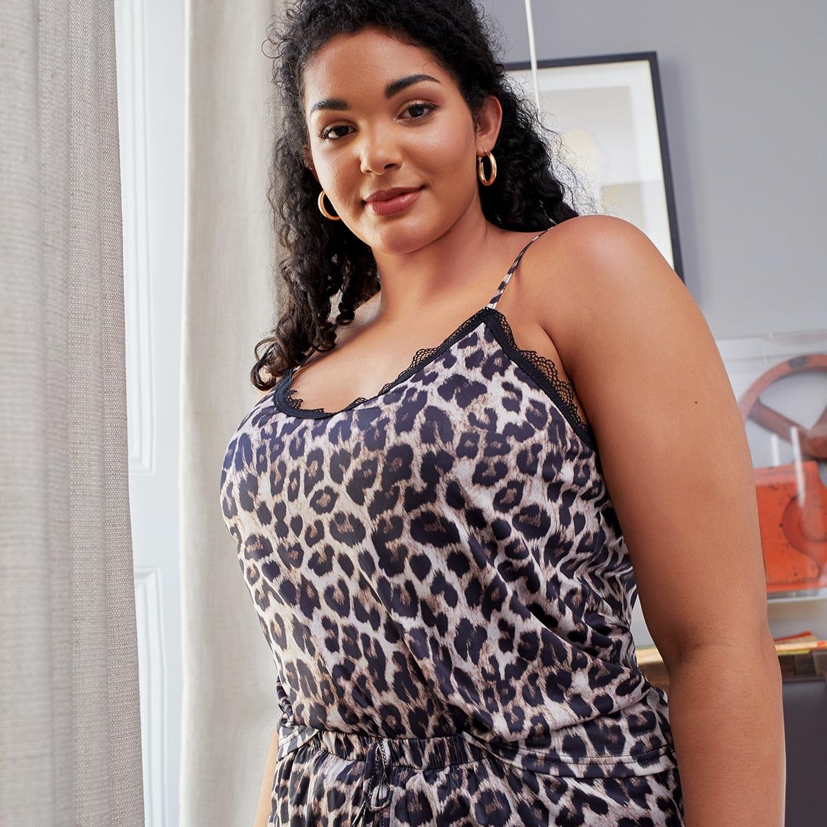 Plus Leopard Print Cami Top & Shorts Pajama Set