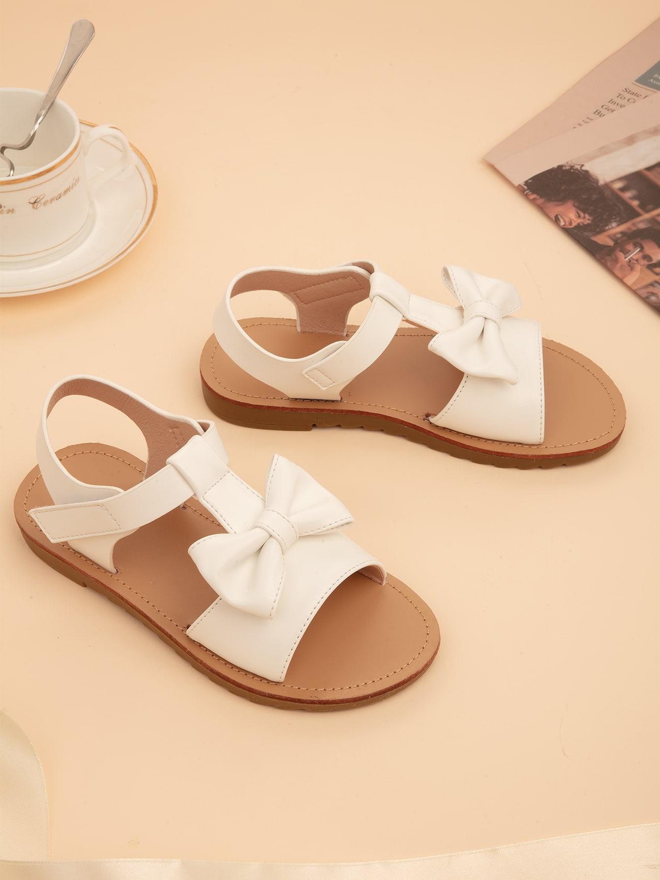 Girls Bow Decor Flat Sandals