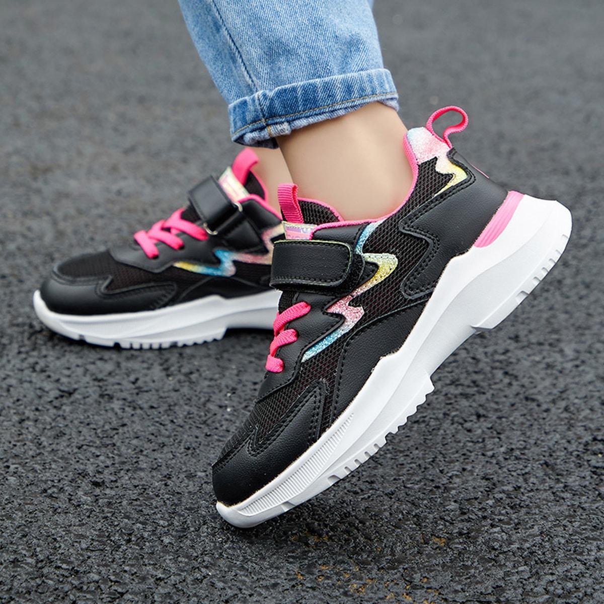 Сетчатые кроссовки на липучке для девочек SheIn sk2106232822685186