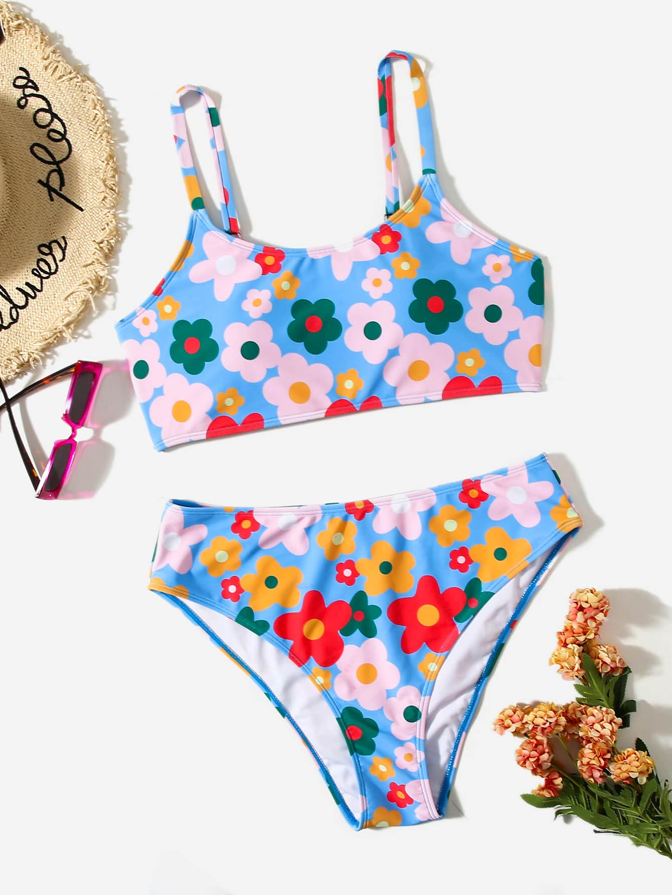 Plus Floral High Waisted Bikini Swimsuit