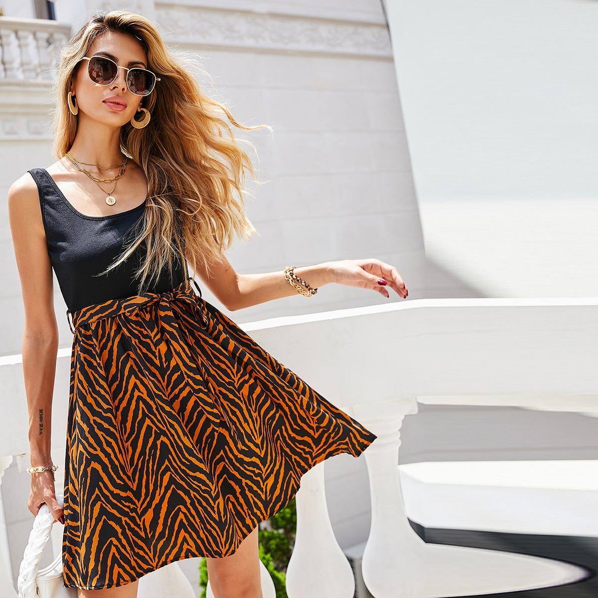 Комбинированное платье с узором зебры без рукавов поясом SheIn swdress44210616610