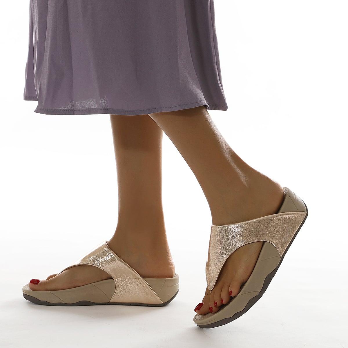 Sandalias de dedo de color metálico