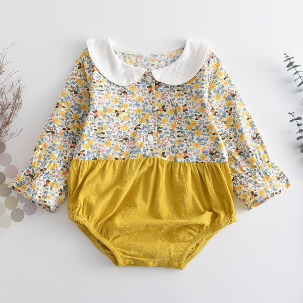 Baby Girl Ditsy Floral Peter Pan Collar Bodysuit, Multicolor