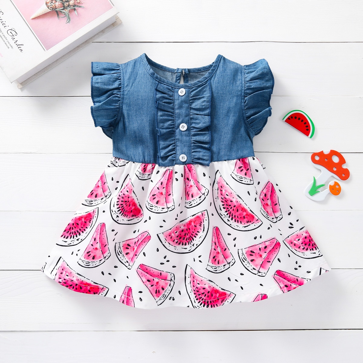 для девочек Джинсовое платье арбуз принтом с оборкой Составной комплект от SHEIN