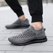 Guys Striped Pattern Knit Slip On Sneakers