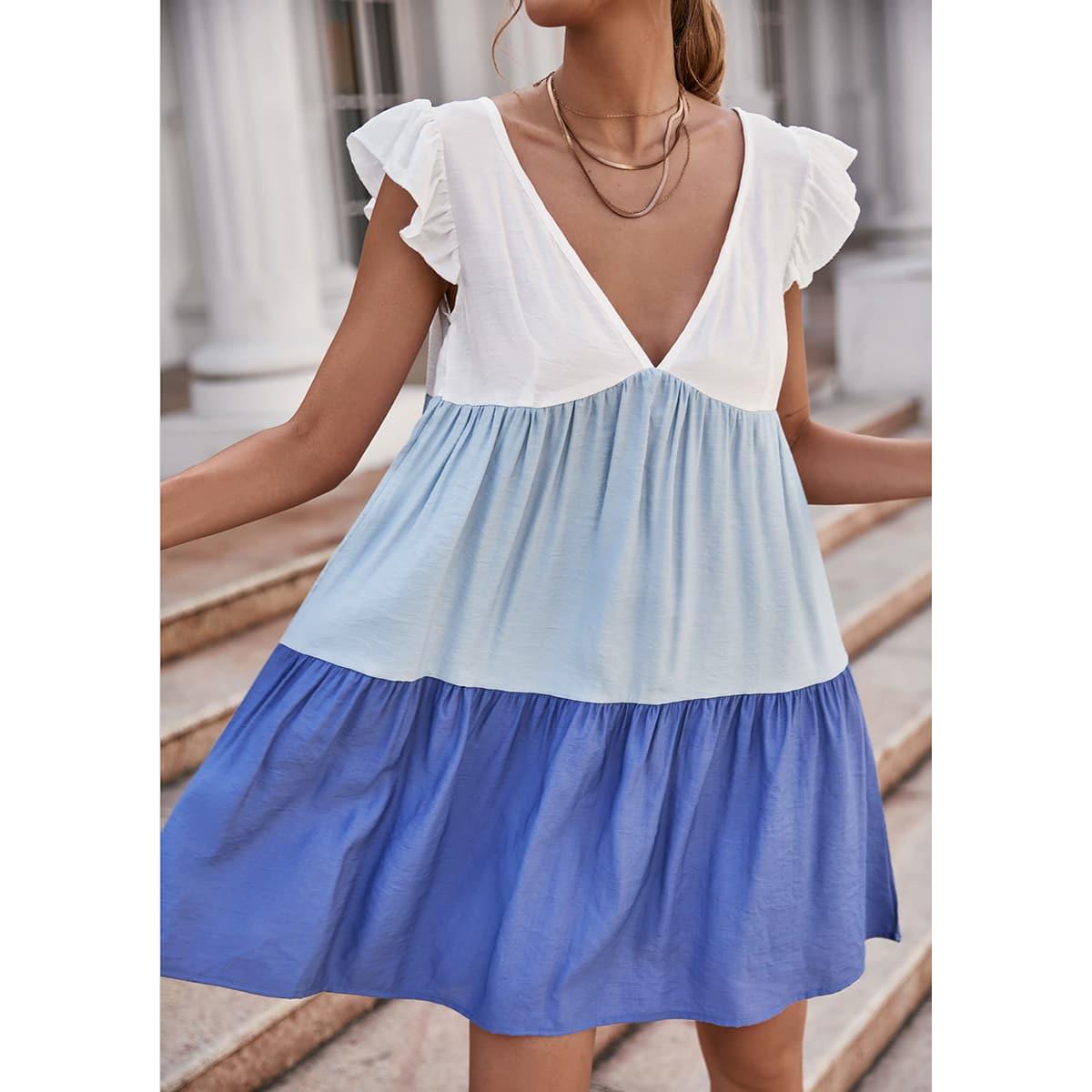 Платье комбинированным принтом с оборками SheIn swdress23210525468