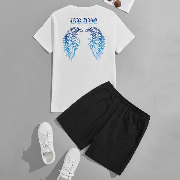 Men Wings & Letter Graphic Tee & Drawstring Shorts, Black and white