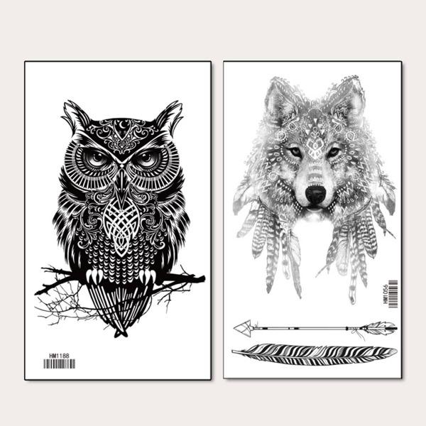 2sheets Owl & Wolf Pattern Tattoo Sticker, Black