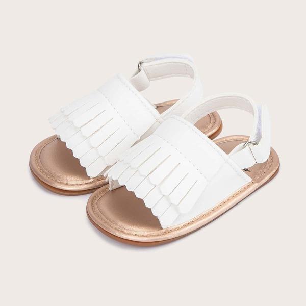 Baby Girl Fringe Decor Slingback Sandals, White