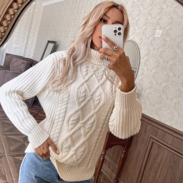 Turtleneck Drop Shoulder Solid Sweater, White