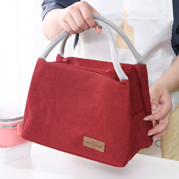 1pc Large Lunch Box Insulation Bag, Burgundy