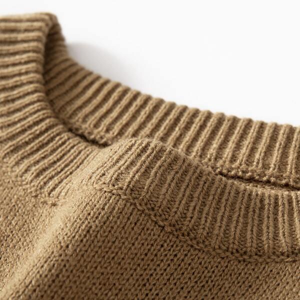 Men Raglan Sleeve Sweater, Camel