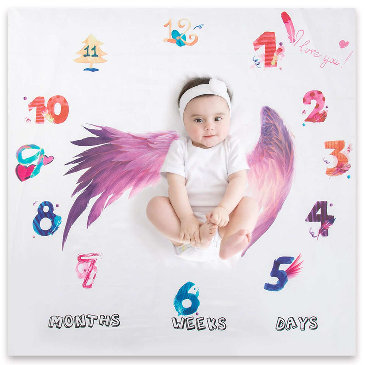 Фоновое одеяло с принтом крыльев для фотографий новорожденных девочек